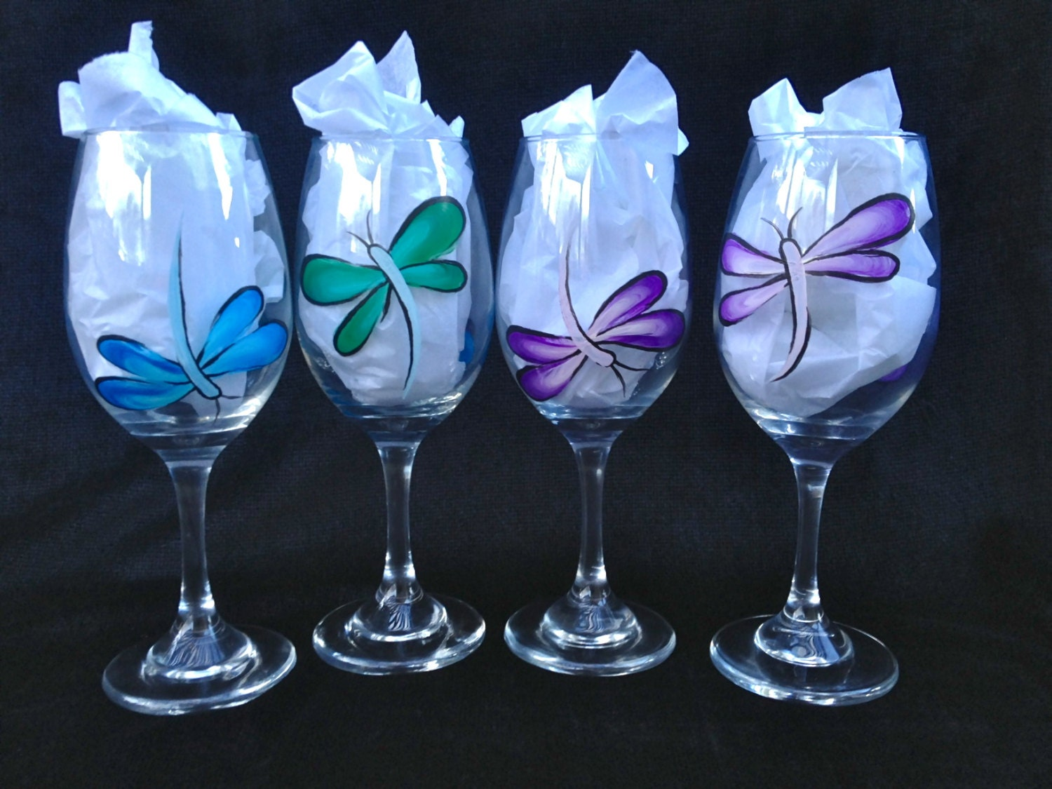 Dragonfly wine glass for Painting while drinking wine