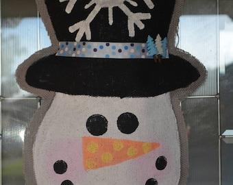 Snowman Burlap Door Hanging