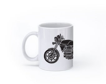 "KillerBeeMoto: U.S. Made Limited Release 1980's Germanic Motorcycle ""Flying Brick"" Coffee Mug (White)"