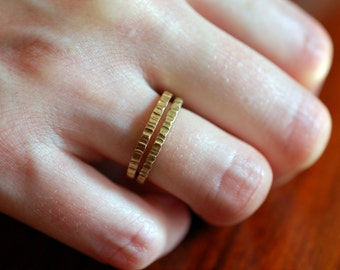 GOLD STACKING RINGS - Stacking Ring- Simple Silver Ring - Gold ring - Hammered Ring - Copper Ring - Wedding Band - For Man, Woman & Child!