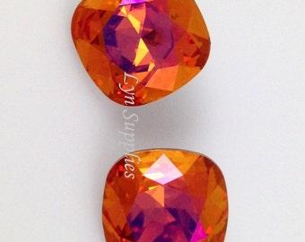 4470 ASTRAL PINK 12mm Swarovski Crystal Cushion Cut Fancy Stone, Fire Orange