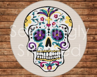 Counted Cross Stitch Pattern - Sugar Skull - Instant Digital Download PDF