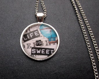 Life is Sweet Glass Cabochon Pendant Necklace - Positive Jewelry