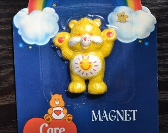 NOS Care Bears Refrigerator Fridge Magnet 1980s 80s Kawaii Decor Funshine Bear Yellow Sunshine Tummy American Greetings Collectible Figurine