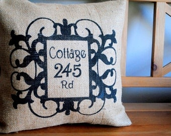 A classic Welcome Home rustic pillow cover with your home address. House warming gift, New home gift, Personalized pillow, Cottage Chic.