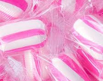 Pink Sassy Cylinders Striped Hard Candy -2.5 lbs -Strawberry Flavored