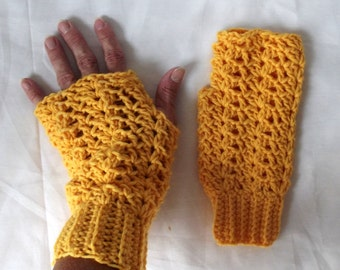 Crochet Fingerless Gloves Marigold Yellow Texting Gloves Boho Shabby Chic Lacy