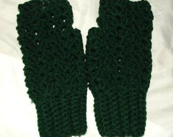 Crochet Fingerless Gloves, Texting Gloves, Small Womens, Teens, Dark Forest Green, Boho, Shabby Chic, Lacy, Acrylic
