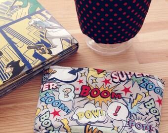 Reversible Coffee Sleeve- Comic Books & Polka Dot (Ready to ship)