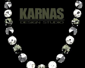 BLACK DIAMONDS 12mm Crystal Rivoli Choker Made With Swarovski Elements *Pick Your Finish * Karnas Design Studio *Free Shipping*
