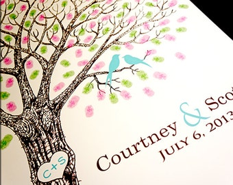 Custom Guest Book Ideas Original Wedding Guest Book Wedding Guestbook Thumbprint Tree Fingerprint Tree Guestbook Alternative Wedding Tree #L