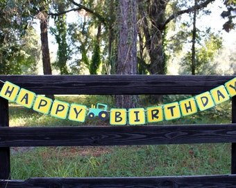 Green and yellow tractor birthday, tractor banner, tractor birthday banner, tractor party, happy birthday