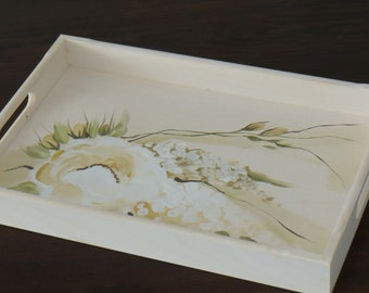 Tray wooden hand-painted wooden tray serving tray