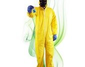 Breaking Bad Inspired Costume - Yellow Chem Suit, Gas Mask, Blue Rock Candy