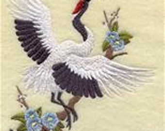 6 pc SET  BATh towels Embroidered Oriental Crane - Happiness