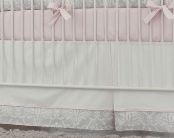 Girl Baby Crib Bedding: Pink and Gray Damask 2-Piece Crib Bedding Set by Carousel Designs