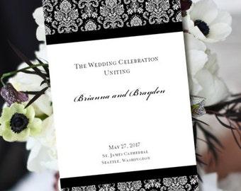 Printable Ceremony Program Black White Damask