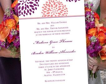 Wedding Invitation Templates Floral Petals Coral Reef Sangria Purple
