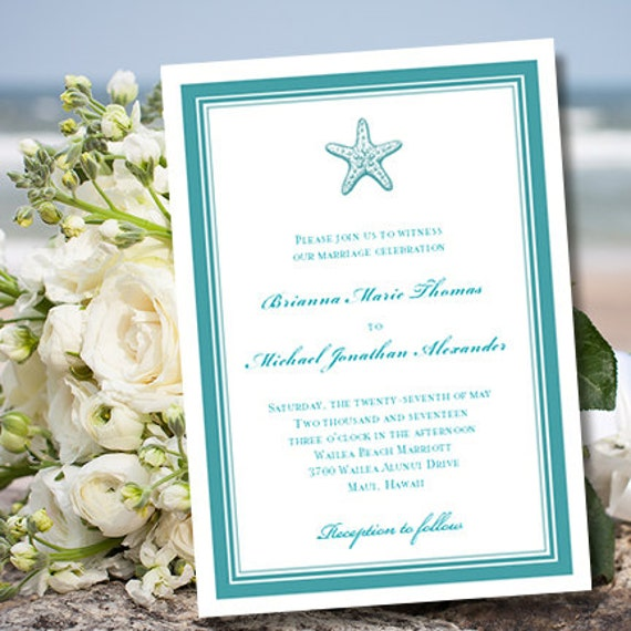 Wedding Invitation Template Beach Starfish – Word Document Invitation Template