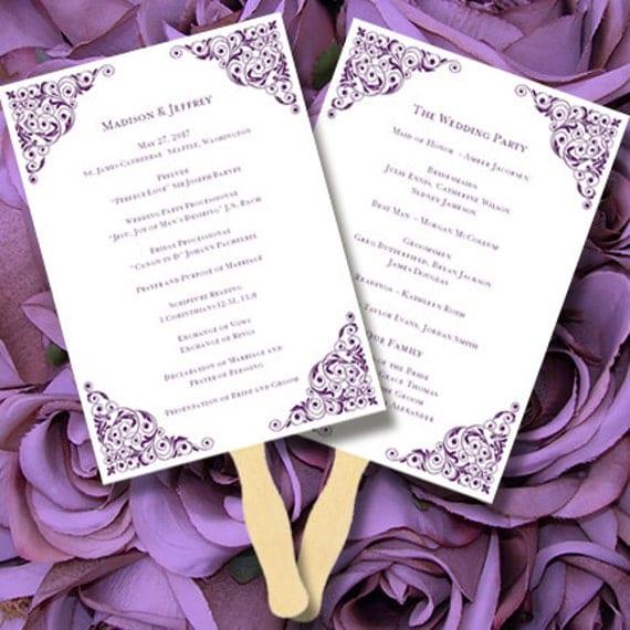 Printable Wedding Program Fan Template by WeddingTemplates on Etsy
