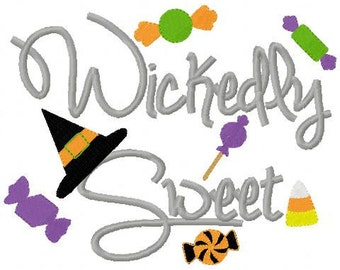 Halloween Embroidery Design Wickedly Sweet Embroidery Design Digital Instant Download 4x4 and 5x7