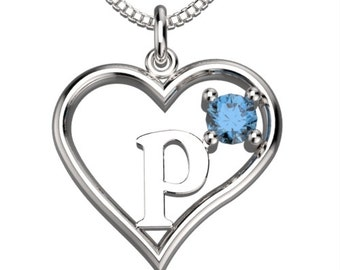 "BirthStone  Heart Letter P Sterling Silver Pendant &18"" Necklace December Blue Zircon"