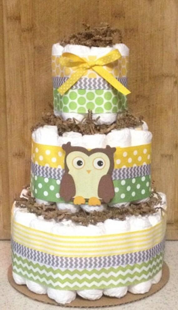 G teau de couches neutre 3 tier owl diaper cake pi ce - Gateau de couche baby shower ...