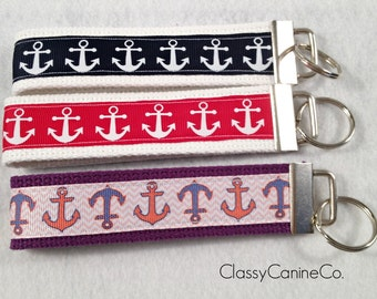 Nautical Anchors Key Fob Wristlet Key Chain