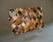 Shades of brown Wallet / Small purse made of hand woven recycled fashion magazine paper