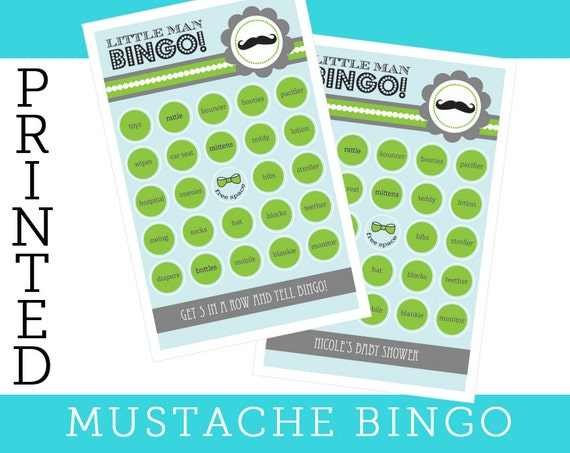 baby shower game mustache bingo cards fun coed baby shower game