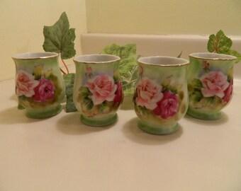 Set of 4 Vintage Rose Bud Vases