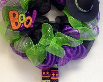 Deco Mesh Halloween Witch Wreath