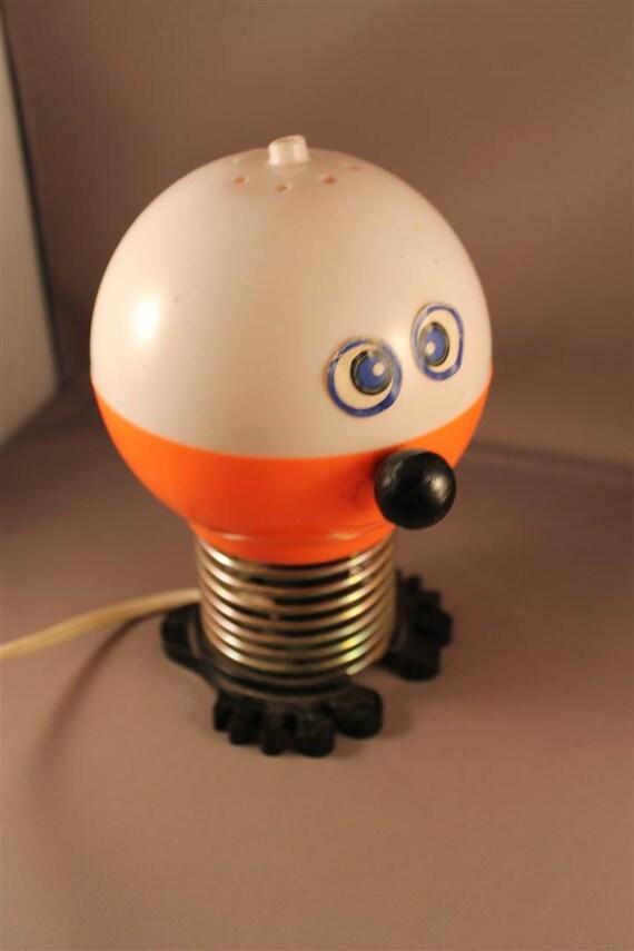original 60er jahre lustige tischlampe lampe orange und wei. Black Bedroom Furniture Sets. Home Design Ideas