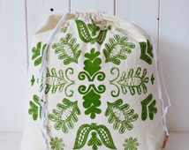Organic Cotton Gift Bag Bread Bag Screen printed Hungarian Kalotaszeg Folk Pattern - Green
