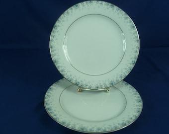 2 Noritake Kathleen Salad Plates Blue Flowers Silver Trim