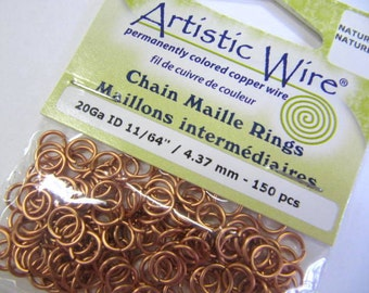 "Chain Maille Jump Rings, Copper, 20 Gauge, 11/64"",4.37 MM,  150 Pieces, Jewelry, Bracelet, Necklace, Chain Maille Projects, Jump Rings"