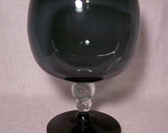 ON SALE !! Blenko Charcoal and Crystal Goblet