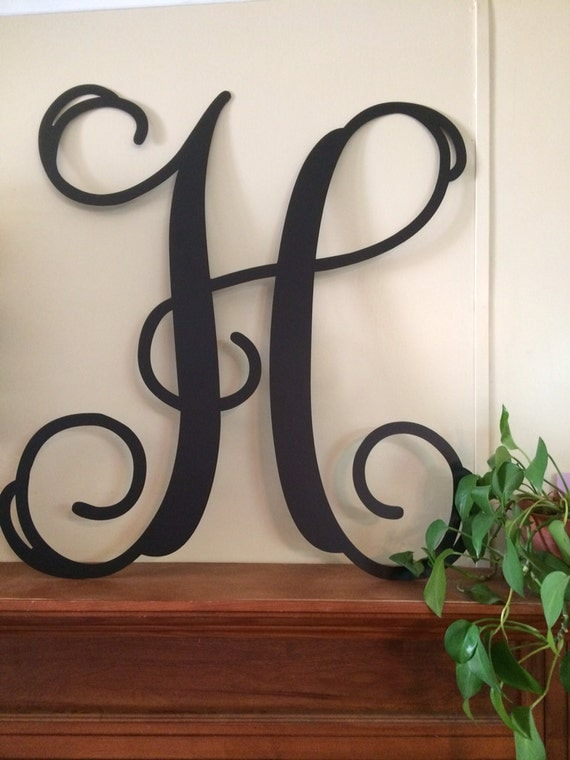 Large single letter metal monogram wall door hanger for Alphabet decoration