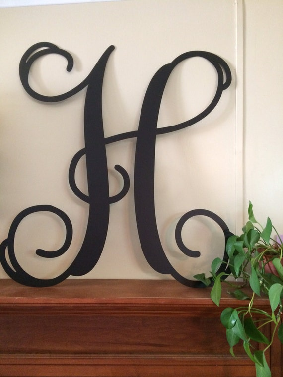 Large single letter metal monogram wall door hanger for Large metal monogram letters