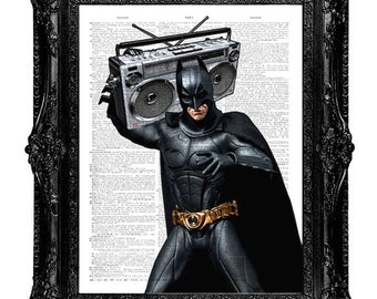 Batman Dictionary art print. Batman Rocking out with Boombox. A book page art print. Buy any 3 prints get 1 Free!