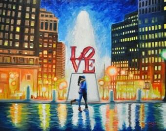 LOVE Park Philadelphia Print Painting Poster