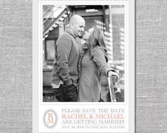 Photo Save the Date Card | DIY Printable or Printed | Monogram | 5x7