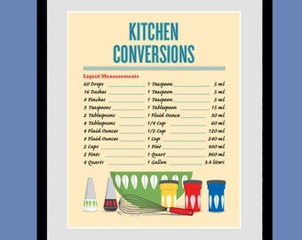 CATHRINEHOLM Kitchen Conversion Chart, kitchen art, poster, Kitchen wall art, Giclee print, modern art, mid century modern, N20