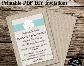 "5"" x 7"" Turquoise Sand Dollar On Burlap Beach Printable DIY Wedding Invitation PDF With Editable Text"