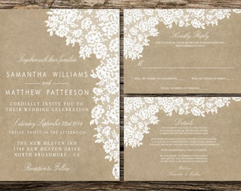 Printable Wedding Invitation Set - Invitation - RSVP Card - Details Card - DIY Wedding - White Lace On Brown Paper Collection Design