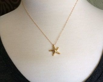 14k Gold Vermeil Starfish Necklace on a Gold Filled Chain