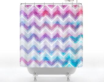 Rainbow Grunge Chevron Shower Curtain