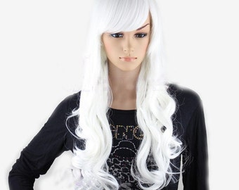 White long curly wig.Ariana Grande white hair Synthetic wig -high quality wig