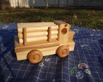 Wooden Logger Truck Pull/PushToy with Logs