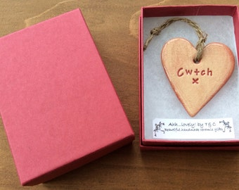 Cwtch (Cuddle in Welsh) hanging mini ceramic heart gift/decorative item handmade in Wales